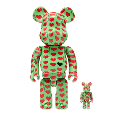 MEDICOM TOY, BE@RBRICK Green Heart 100% & 400% SET.