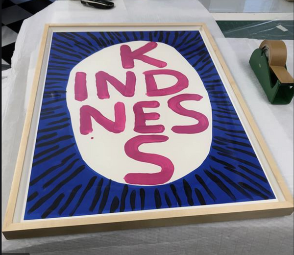 David Shrigley, Kindness Print on Linen (Framed).