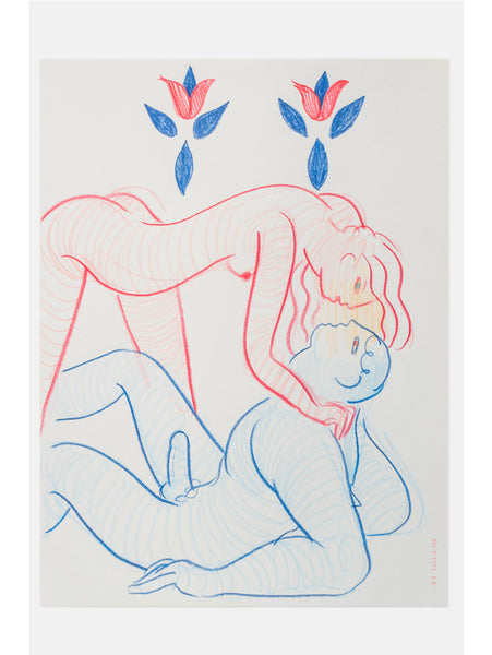 Alphachanneling, Two Souls (Red and Blue Figure), colored pencil, 2016.