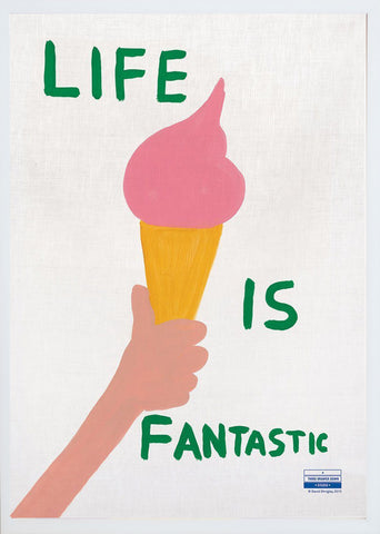 David Shrigley, Life Is Fantastic Print on Linen (Framed).