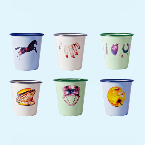 TOILETPAPER, Set of Six ,Enamel Glasses.