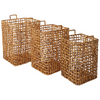 Square Natural Reed Baskets - Set of 3