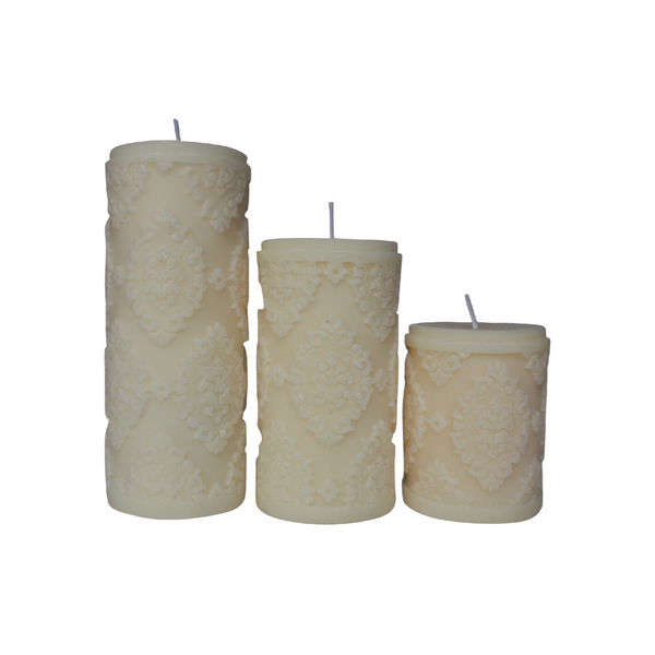Cream Diamond Sculpture Pillar Candles - Set of 3