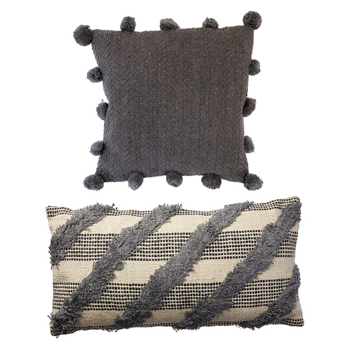 Tuft & Pom Pom Grey Cushion Set