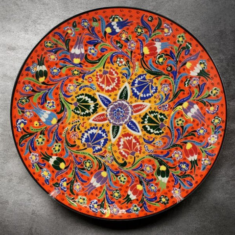 Orange Floral Turkish Plate