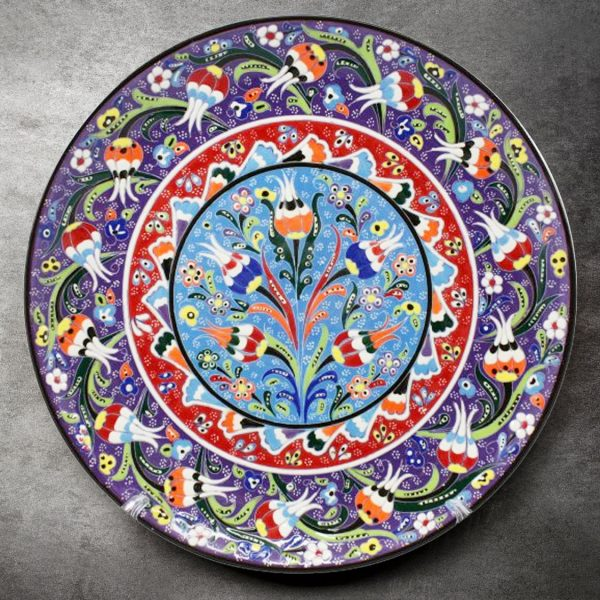 Purple Floral Turkish Plate