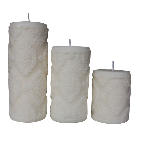 White Diamond Sculpture Pillar Candle - Set of 3