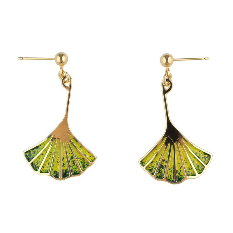 Ginkgo leaf earrings (brass)