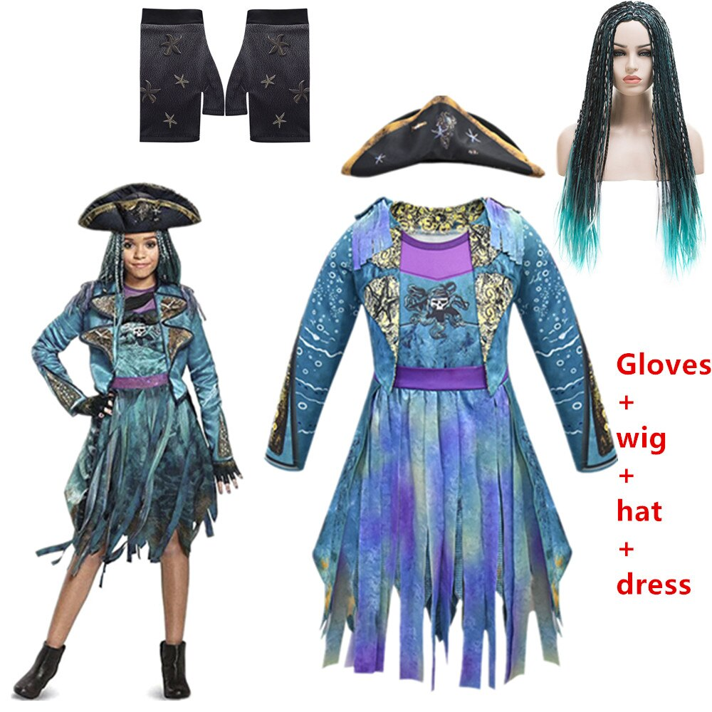 Hot Descendants 3 Mal&Uma Ursula Daughter Braids Long Green Black Dreadlocks kids Cosplay Wig+dress halloween costume for kids