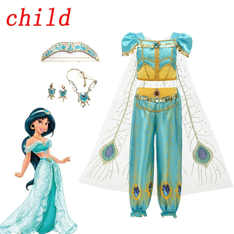 Jasmine Cosplay Costume Girls Kid Princess Skirt Aladdin Costumes Necklace Crown Earring Suit Halloween Dresses