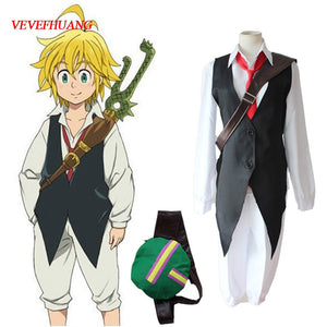 VEVEFHUANG Anime The Seven Deadly Sins Cosplay Meliodas Dragon's Sin of Wrath Cosplay Costume Full Set Uniforms