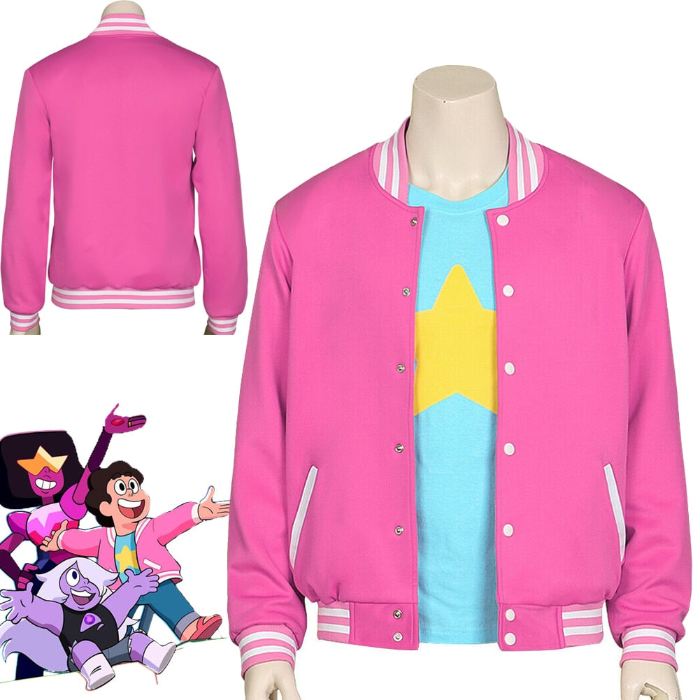 HOT! Movie Steven Universe Quartz cosplay Men Baseball uniform Unisex Coat T-Shirt Jacket Tee Top T Shirt Halloween Costumes