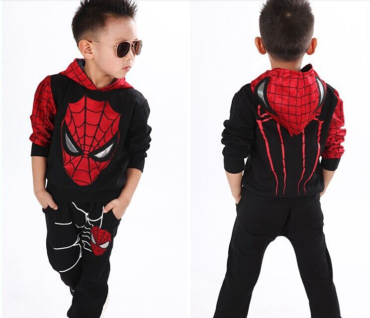 2016  kids spiderman  cosplay clothing sets children costume fashion cartoon summer shirt  pants boys tees pants suit
