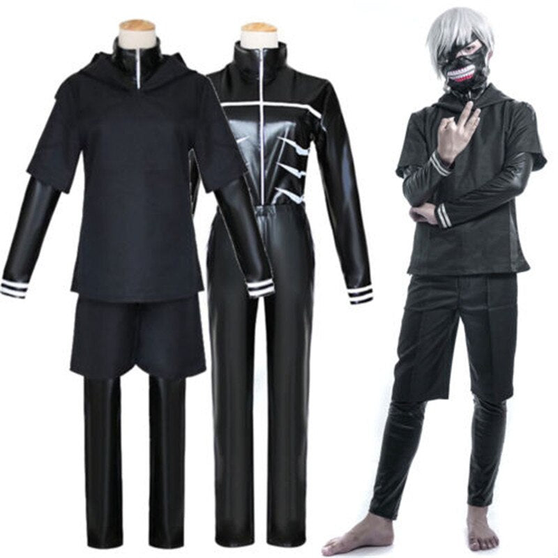 Drop Shipping Halloween Costumes Tokyo Ghoul Kaneki Ken Cosplay Costume Black Hoodie Sweater Leather Cloth+Mask+Wig S-3XL