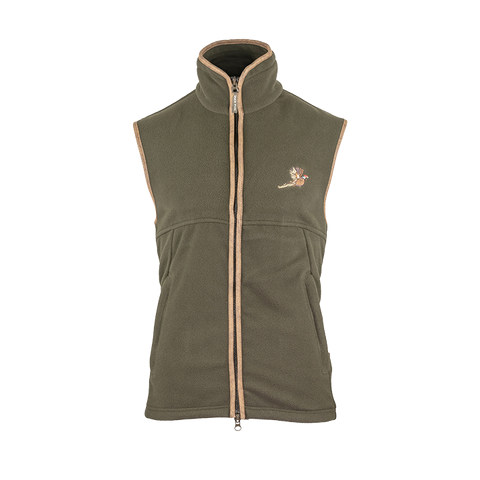 Countryman fleece gilet with pheasant motif