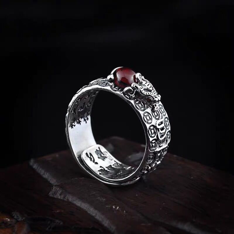 Pixiu Natural Red Garnet Stone Ring
