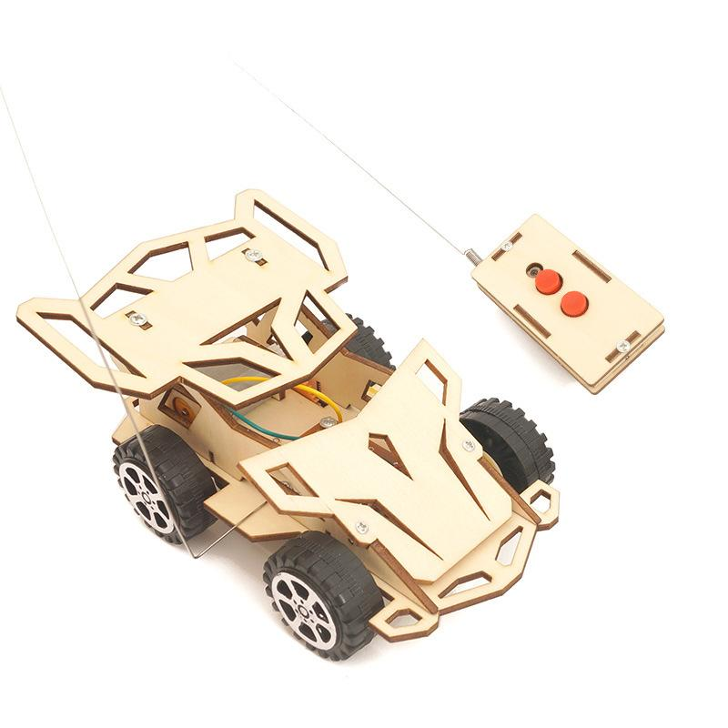 Wood DIY Assembly 4WD RC Remote Control Car Vehicle Model Kit Children Toy