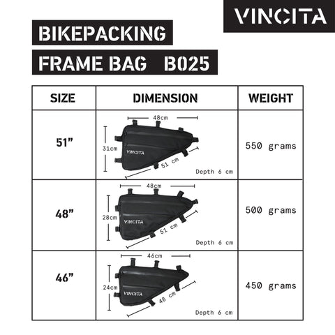 Vincita Co., Ltd. bicycle bag B025N Frame Bag for Bikepacking