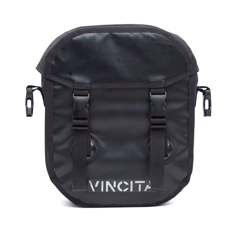 vincitabikebag bicycle bag Black Small Waterproof Single Pannier with Cover