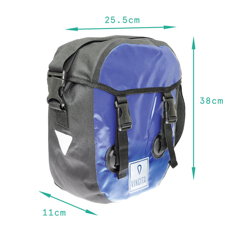 vincitabikebag bicycle bag Blue / th B050WP-AR Small Waterproof Single Pannier with Cover