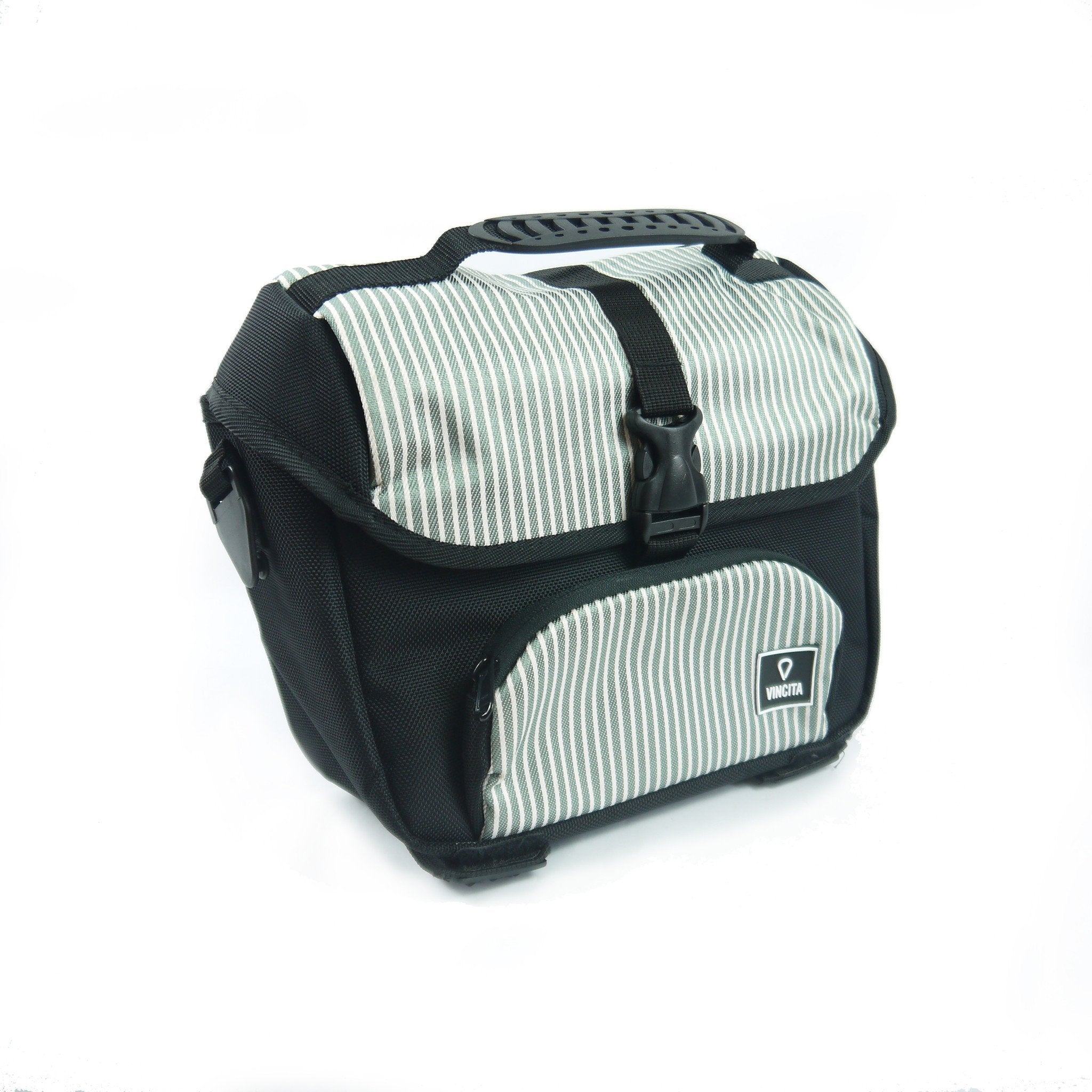 Vincita Co., Ltd. bicycle bag Grey with white strip / th B017D-K Mini Front Bag for Brompton with KlickFix Adapter