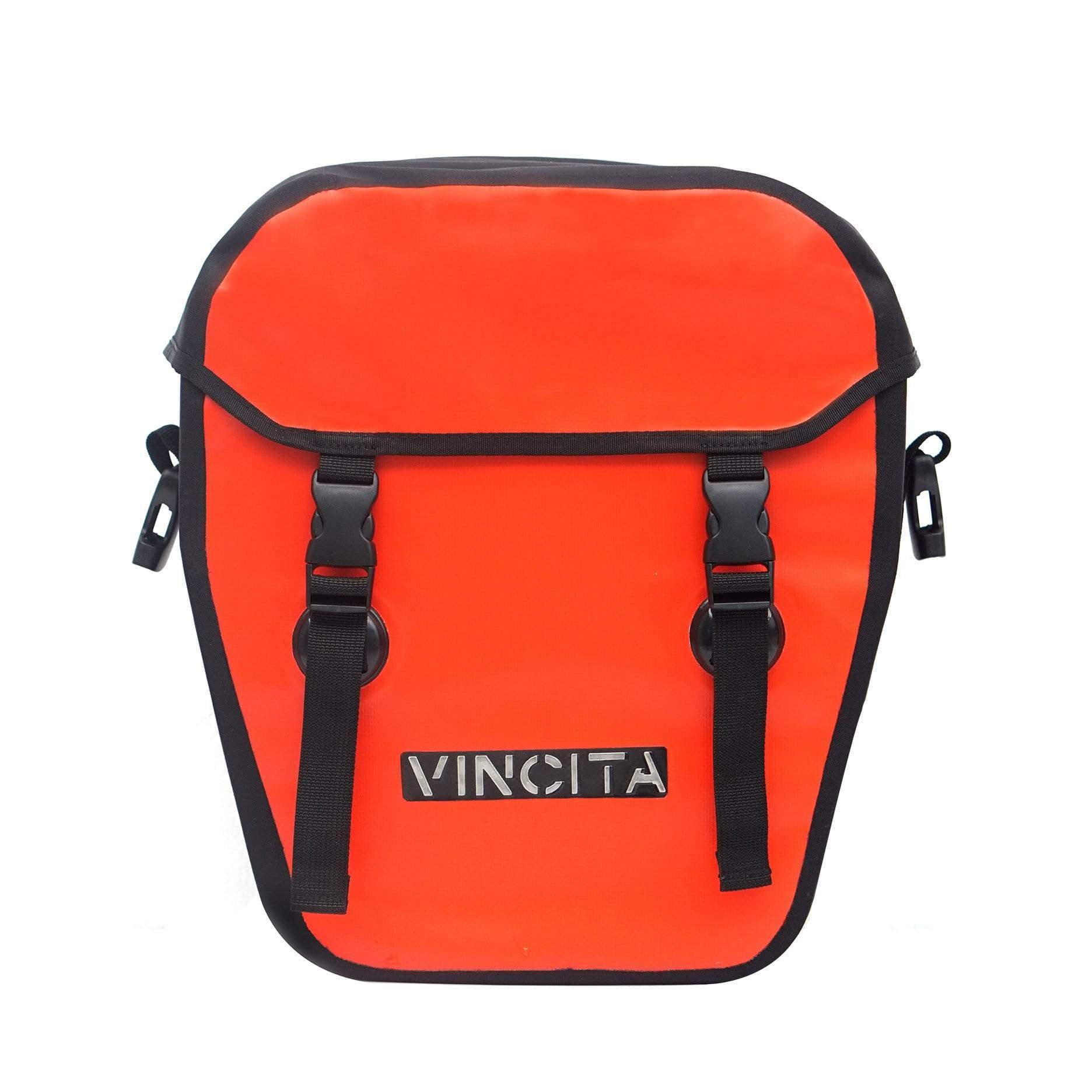 vincitabikebag bicycle bag Red Single Pannier Waterproof L with Cover