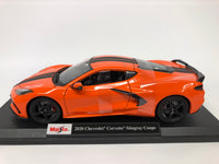 Chevrolet Corvette Stingray Coupe 2020. Orange . Maisto. 1/18 Scale. Boxed .