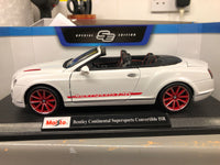 Bentley Continental Supersports Convertible ISR . White . Maisto. 1/18 Scale. Boxed .