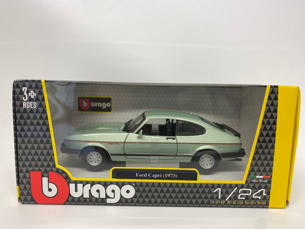 Ford Capri 1973 Green Bburago . 1/24 Scale. Boxed .