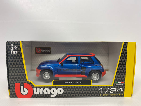 Renault 5 Turbo Blue/Red Bburago . 1/24 Scale. Boxed .