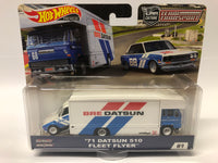 Datsun 510 Fleet Flyer . Hotwheels. Real Riders. Team Transport.