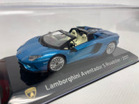Lamborghini Aventador S Roadster . Blue. 1/43 Scale. Super Car. Boxed .