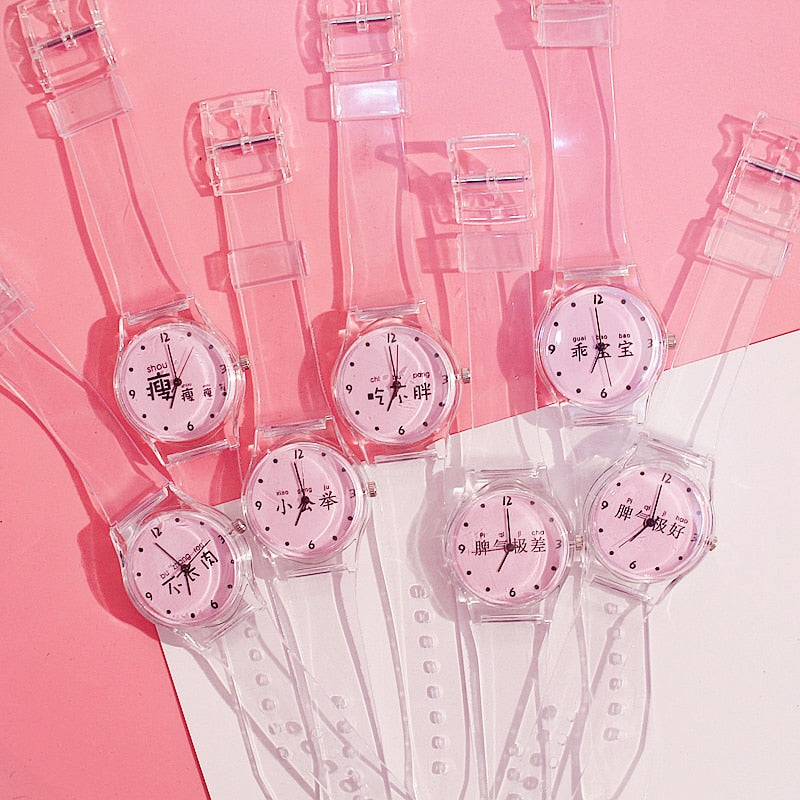 Women Watches Silicone Cartoon Style Transparent Strap