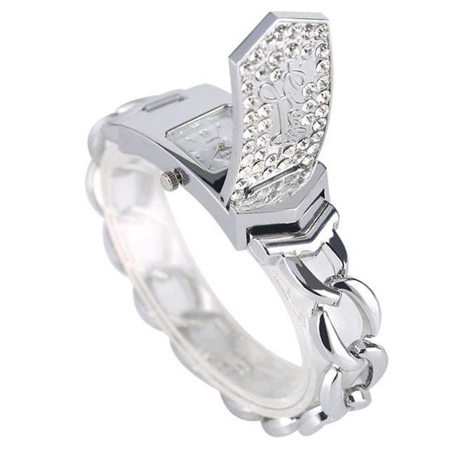 Luxury Embed Crystal Diamond Fashion Silver Gold Square Flap Cover Women's Bracelet Watch