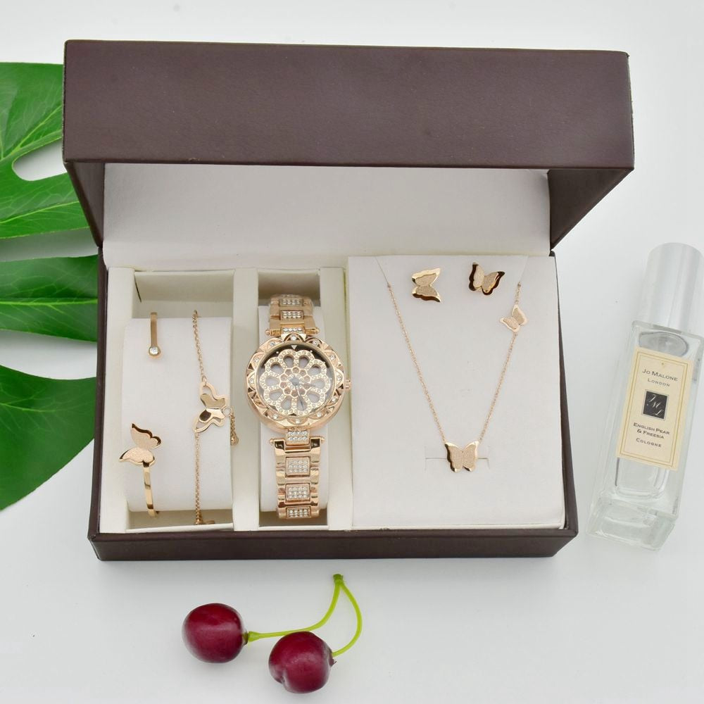 Women 360 Degree Rotation Watches Luxury Rose Gold Steel Titanium Necklace Earrings Bracelet Anklet Set