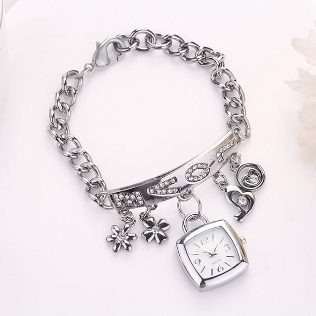 New Fashion Watch Women LOVE Rhinestone Chain Gold Silver Square Watch