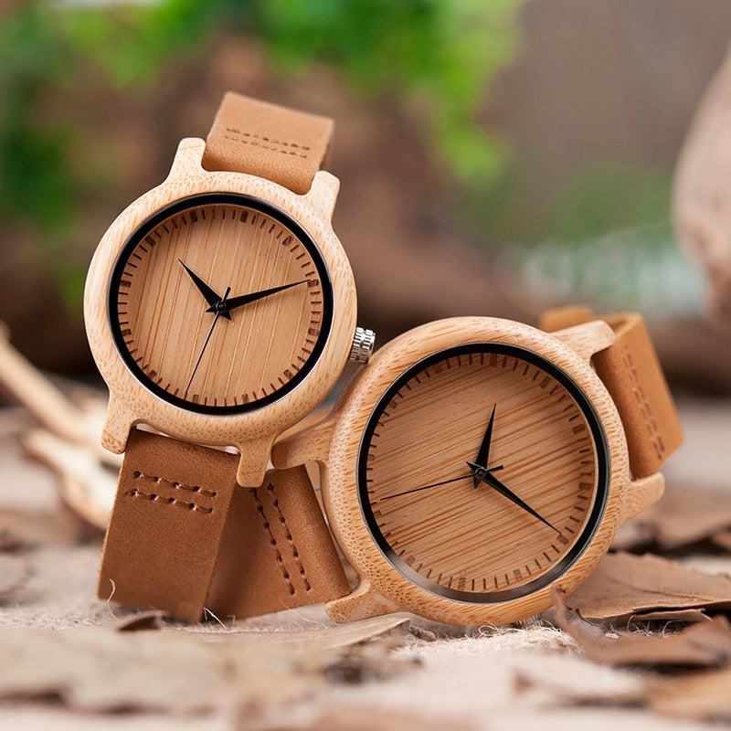 Natural Bamboo Watch Top Brand Unique Watches For Couple in Gift Box