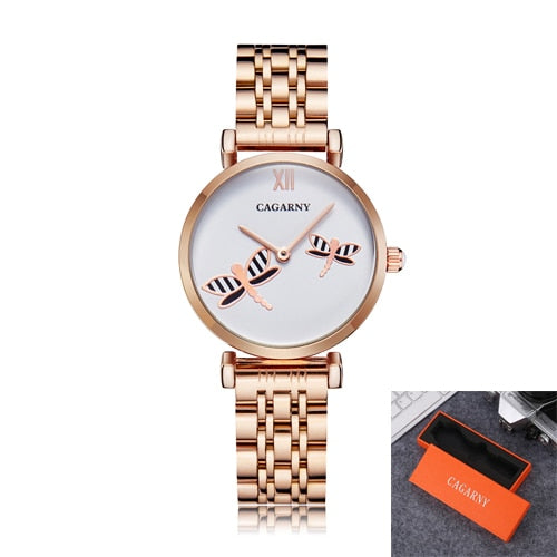 Rose Gold Stainless Steel Bracelet Watch Women