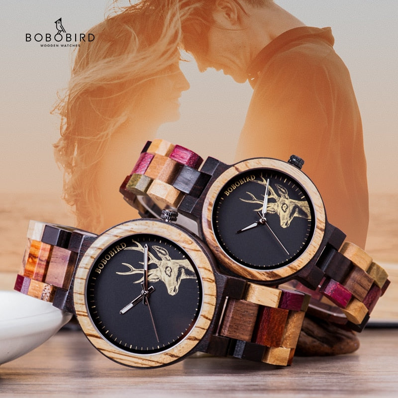 Wooden Women and men Watches in Wood Box Great Gift for Lover