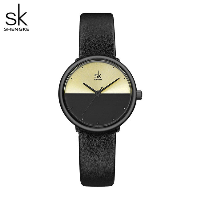 ShengKe Fashion Lovers Watches Men Women Casual Leather Strap Quartz Watch
