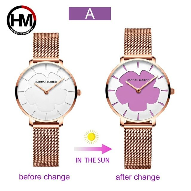 New Black Technology Magic Flower Change Color in the Sun Stainless Steel Watches for Women