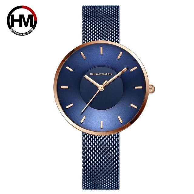 Simple Design Luxury Stainless Steel Band Curved Face Blue Rose Gold Watches For Women