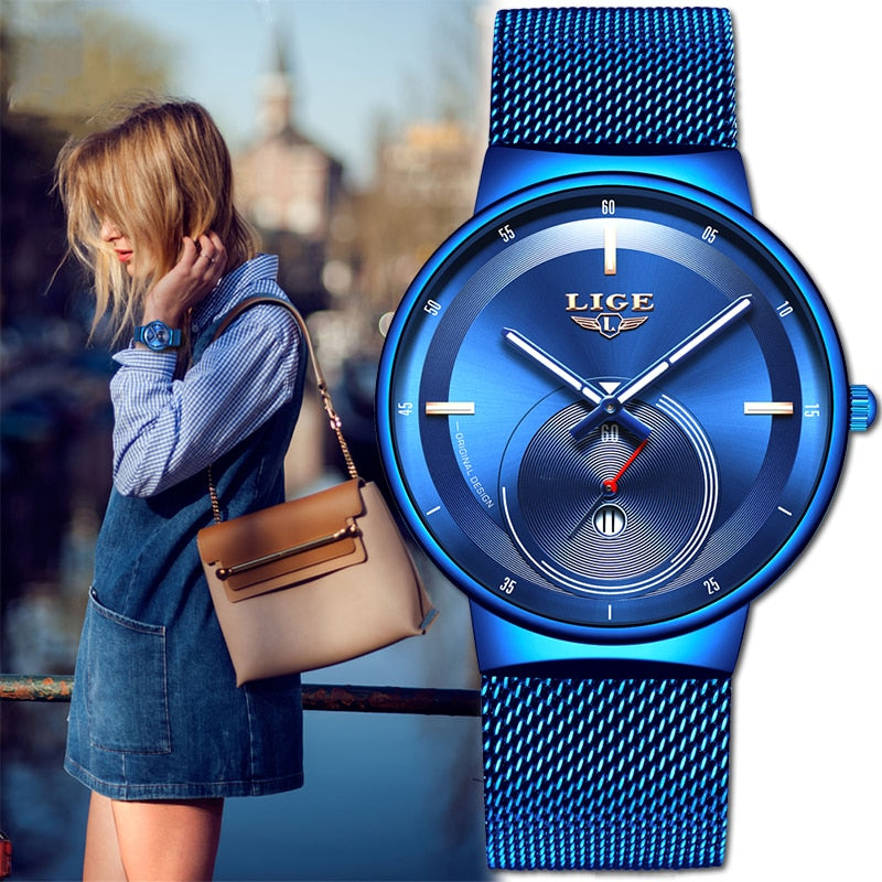 Women Watch Luxury Mesh Belt Ultra-thin Watch Waterproof