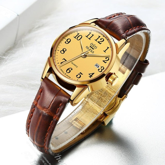 OLEVS Womens Watches Fashion casual Luxury Dress Genuine Brown Leather Waterproof