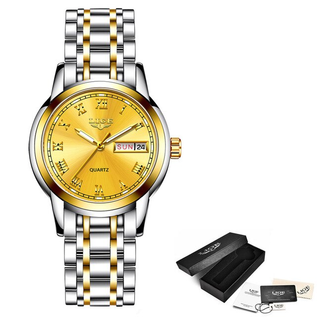 New Gold Watch Women Creative Steel Bracelet Watches Waterproof