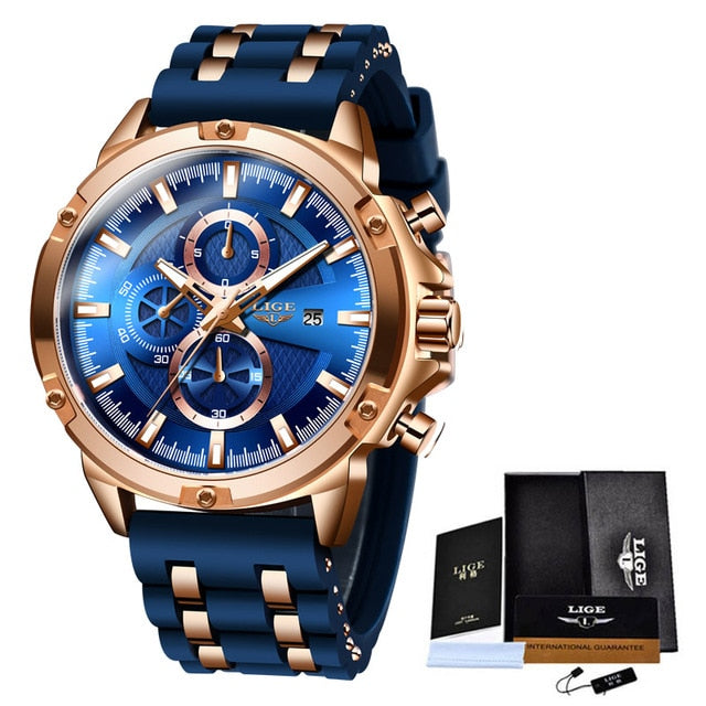 New Mens Watches Top Brand Luxury Watch Waterproof Silicone strap Quartz Wrist Watch