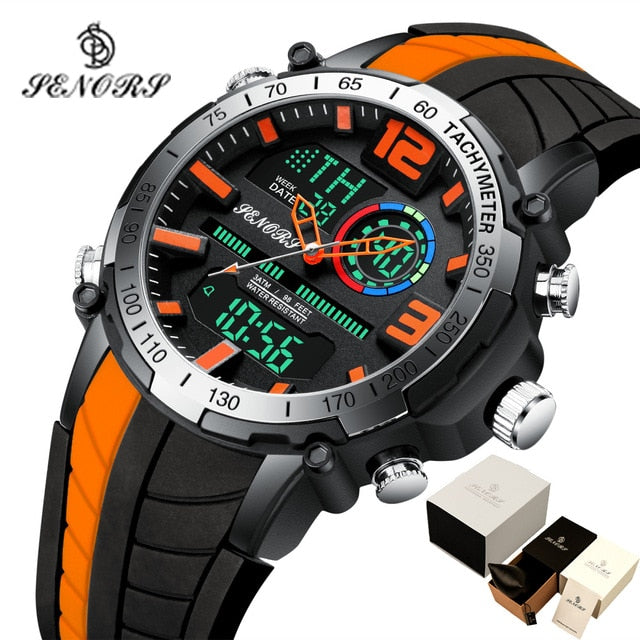 Senors Digital Watch Men Sports Watches Dual display Waterproof