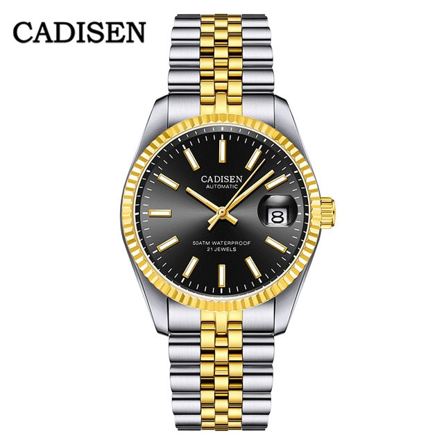 CADISEN Men Luxury Automatic Watch Business Stainless Steel Waterproof