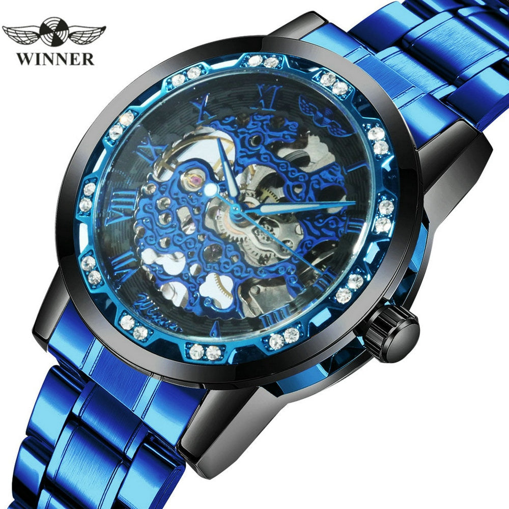 WINNER Official Blue Men Classic Skeleton Mechanical Watches Stainless Steel Strap