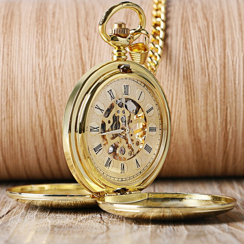 Navidad Smooth Mechanical Pocket Watch Full Luxury Gold Color FOB Hand Wind Double Hunter